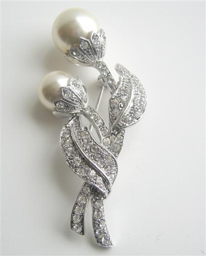 Primary image for Sparkling Cubic Zircon Stem Pearls Brooch Silver Tone Jewelry