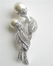 Sparkling Cubic Zircon Stem Pearls Brooch Silver Tone Jewelry - $18.58