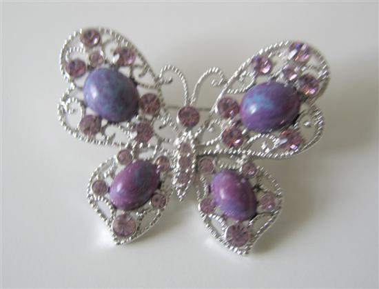 Amethyst Stone with Violet Crystals Butterly Brooch Pin