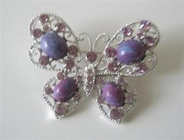 Amethyst Stone with Violet Crystals Butterly Brooch Pin - $17.93