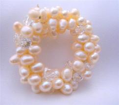 Handmade Brooch Of Freshwater Pearls & Clear Crystals for Bridal Dress - $28.98