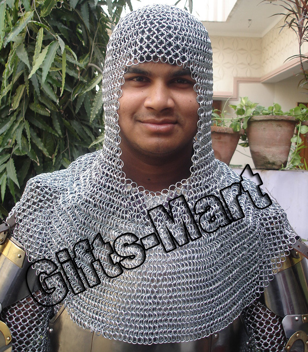 Fancy CHAINMAIL SHIRT+COIF ARMOR LOTR Medieval CHAIN MAIL Haubergeon Armour
