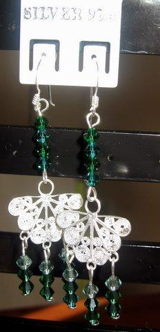 Primary image for Sterling Silver Butterfly Earrings w/ Emerald Swarovski Crystal