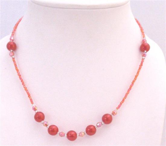 Primary image for Passionate Red Beaded Necklace Affordable Girl Necklace Dollar Jewelry