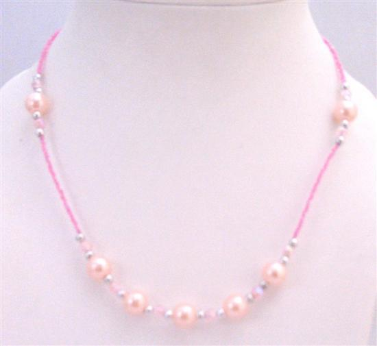 Primary image for Cute Girls Jewelry Soft Pink Beaded Girls Only A Dollar Necklace