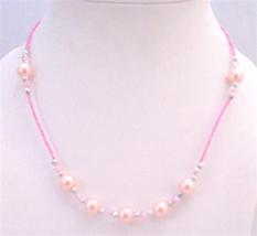 Cute Girls Jewelry Soft Pink Beaded Girls Only A Dollar Necklace - $4.30