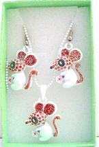 Cute Rabbit Pendant & Earrings Girls Gift Jewelry w/ Gift Box - $10.13