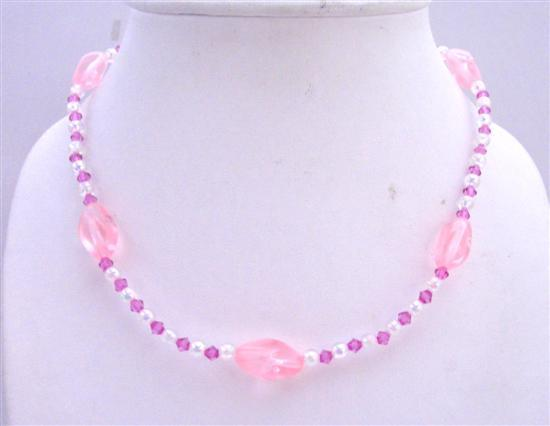 Diamond & Round Beads Necklace Simulated Girls Stretchable Necklace