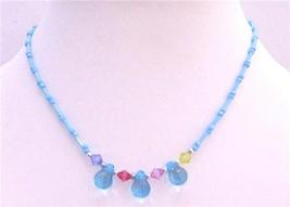Aquamarine Beads w/ Simulated Multicolored Crystals Girls Jewelry - $4.30