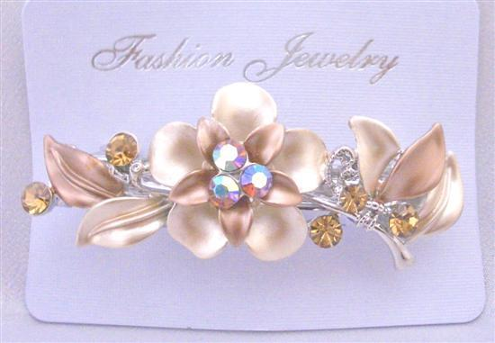 Champagne Bronze Topaz Crystal Flower Hair Barrette Crystals Hair Clip
