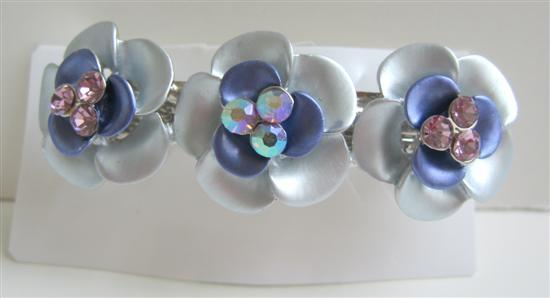 Primary image for Blue Flower Hair Barrette Enamel Flower Hair Clip Barret
