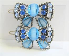 Aaqumarine Blue Bow Hair Clip Sparkling Crystals Bow Hair Clip - $14.03