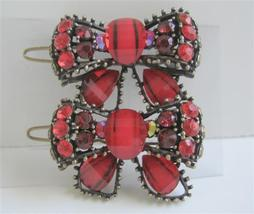 Bow Hair Clip Sparkling Red Crystals Bow Hair Clip - $14.03