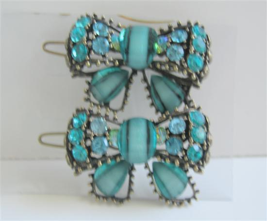 Primary image for Blue Green Haire Accessories Bow Sparkling Crystals Hair Clip