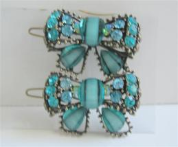 Blue Green Haire Accessories Bow Sparkling Crystals Hair Clip - $14.03