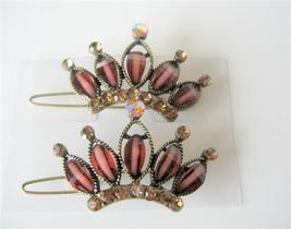 Brown Hair Clip w/ Topaz Crystals Sparkling Crown Hair Clip - $14.03