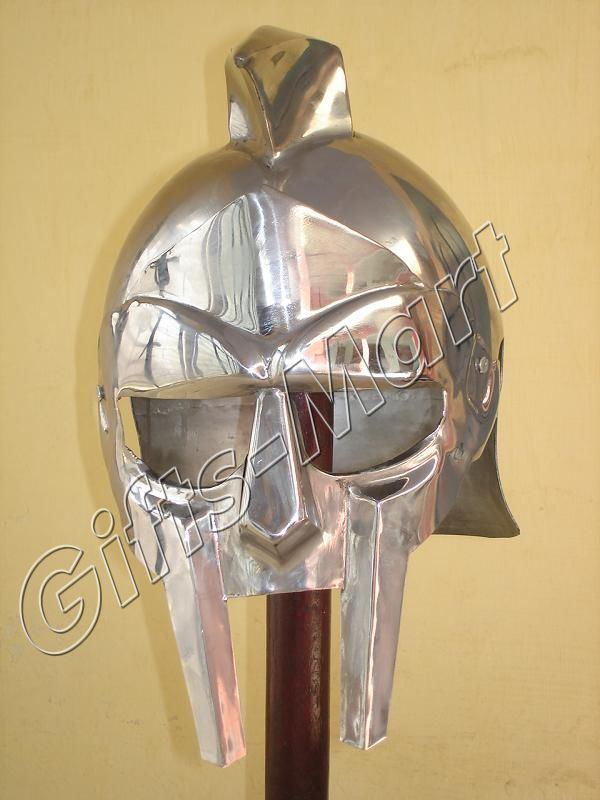 GLADIATOR MAXIMUS HELMET MEDIEVAL ARMOUR Sca with Liner, Collectible Militaria