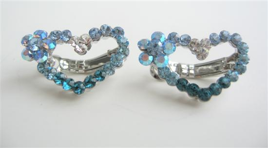 Primary image for Austrian Crystals Hair Barrette Aquamarine Crystal Heart Barrette Clip