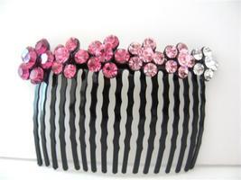 Bridal Crystal Rose Pink Flowers Cyrstal Rhinestones Comb Barrette - $17.28