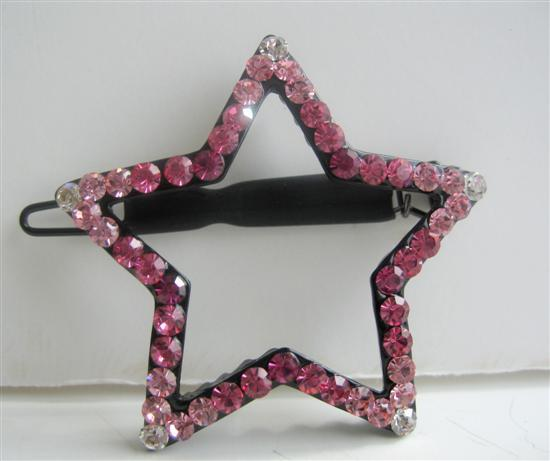 Rose Pink Crystals Star Hair Barrette Party Austrian Crystal Hair Clip
