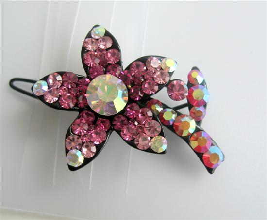 Primary image for Crystals Barrette Hair Clip Pink Flower