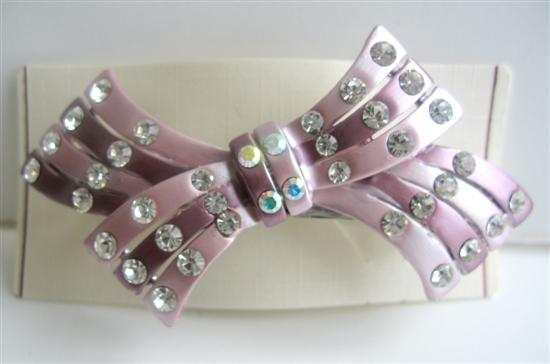 Bridesmaid Bridal Hair Accessory Bow barrette w/ Crystals Hair Clip