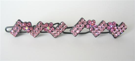 Rose Pink Crystals Hair Accessory Clip Pretty Hair Barrette