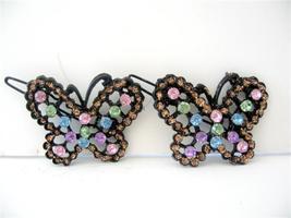 Butterfly Hair Barrette Multi Colored Rhineston... - $14.03