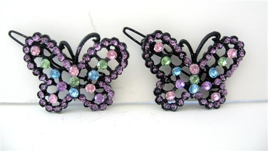 Hair Accessories Pair of Hair Barrette Multi Colored Butterfly Clip