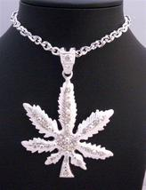 Cubic Zirconia Iced Weed Pendant Men Jewelry Sparkling Thick Necklace - £13.33 GBP