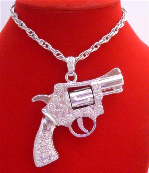 Primary image for Barrel Spins Gun Pendant Men Hip Hop Jewelry Silver Pistol Bling Bling
