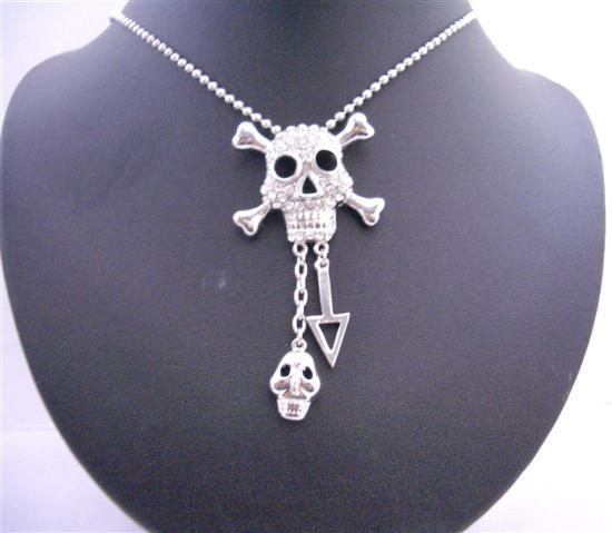 Skull Head Iced Bling Bling Pendant Necklace