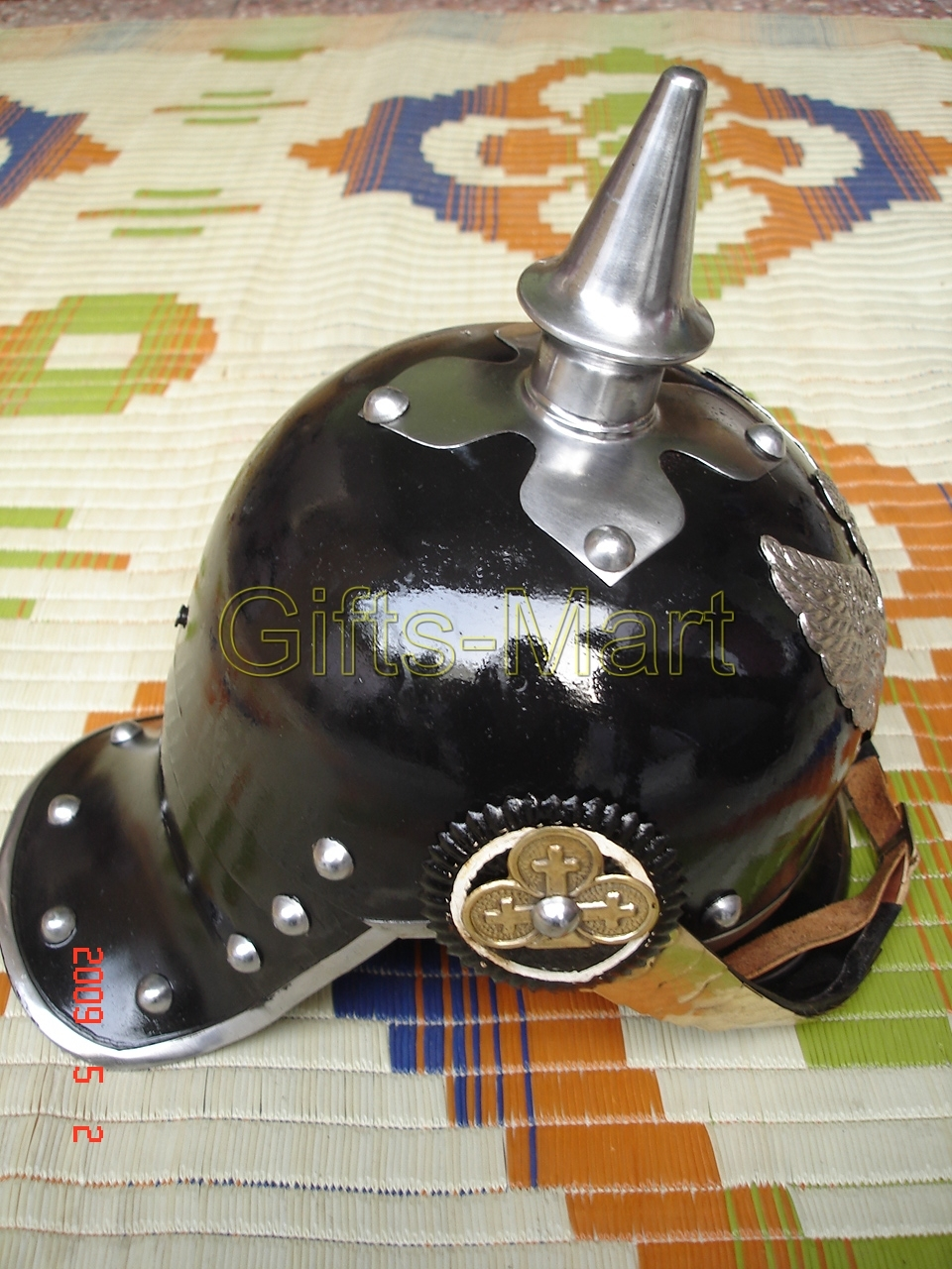 German Pickelhaube BLACK Helmet, Prussian with LINER, Medieval Militaria ARmour