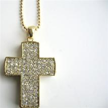 Gold Cross Pendant Cubic Zircon Encrusted Cross Pendantal - $17.93