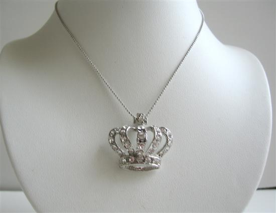 Silver Crown Hip Hop Pendant Embedded w/ Cubic Zircon Crown BLING!