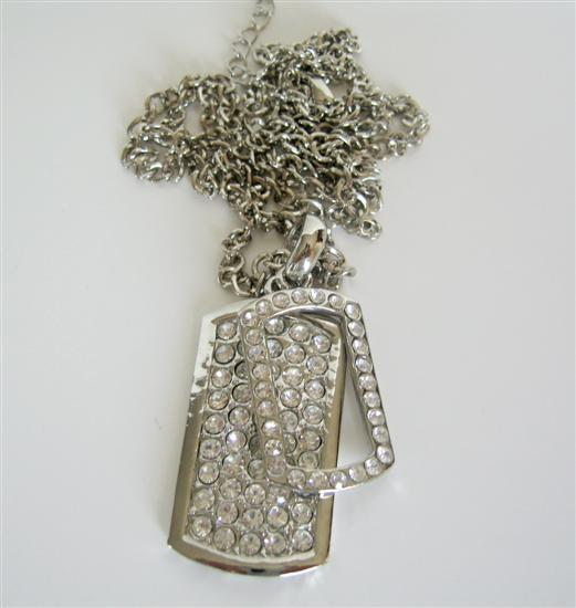 Cubic Zircon Double Dog Tag Hip Hop Necklace Ice Shimmering 28 Inches