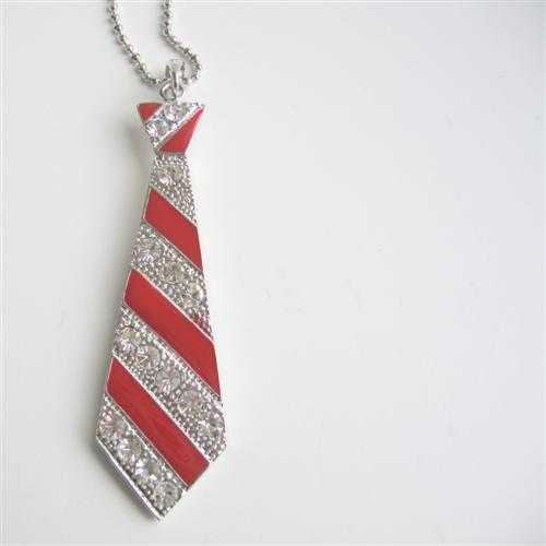 Red Tie Pendant Hip Hop Jewelry Red Cubic Zircon Designed Pendant