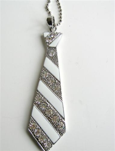 Primary image for White Enamel Tie Pendant Hip Hop Jewelry Cubic Zircon 24 inches Chain