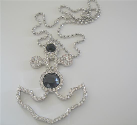 Anchor Cubic Zircon Pendant w/ Black Crystal Embedded Hip Hop Chain