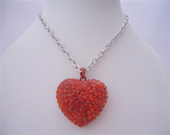 Primary image for Red Heart Red Cubic Zircon Heart Pendant Hip Hop Shimmering w/ CZ