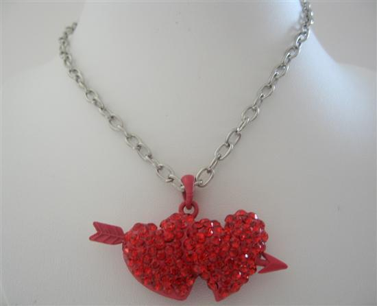 Double Heart w/ Arrow Pendant Necklace Red Cubic Zircon Hearts Pendant