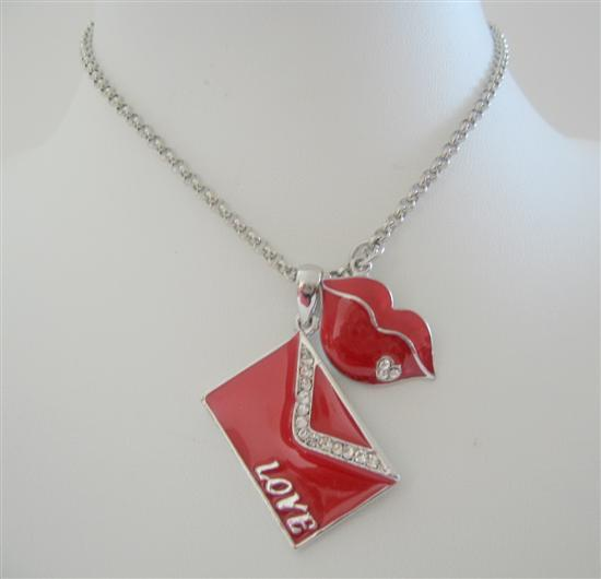 Valentine Love Note Envelope Pendant kiss Dangling Necklace 24 inches