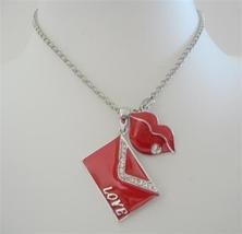 Valentine Love Note Envelope Pendant kiss Dangling Necklace 24 inches - $14.03