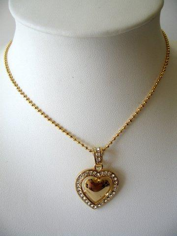 Gold & CZ Heart Pendant Gold Tone Shimmering Necklace 16 inches