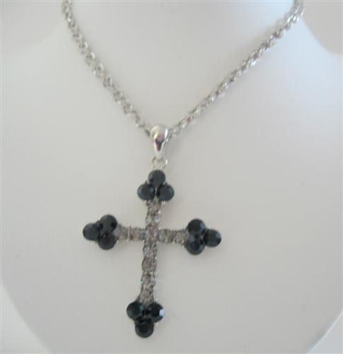Black Rhinestones Cross Pendant Necklace 26 Inches Chain