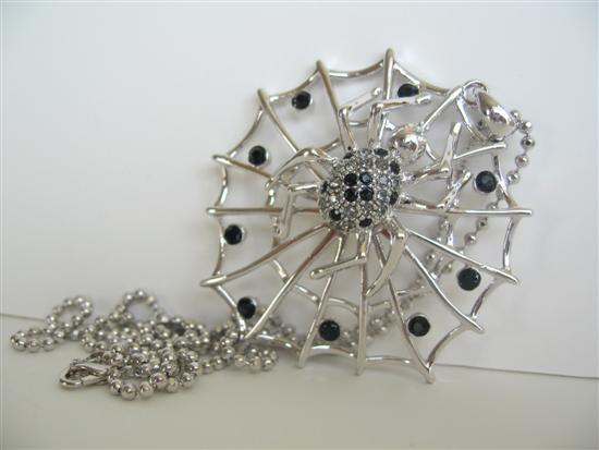 Silver & Black Spider Web Pendant Hip Hop Necklace w/ Black Crystals