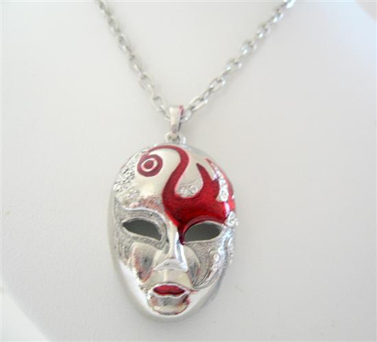 Primary image for Chunky Mask Enamel w/ Cubic Zircon Spread On Mask 24 Inches Necklace