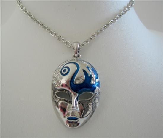 Vintage Mask Enamel w/ Cubic Zircon Spread On Mask 24 Inches Necklace