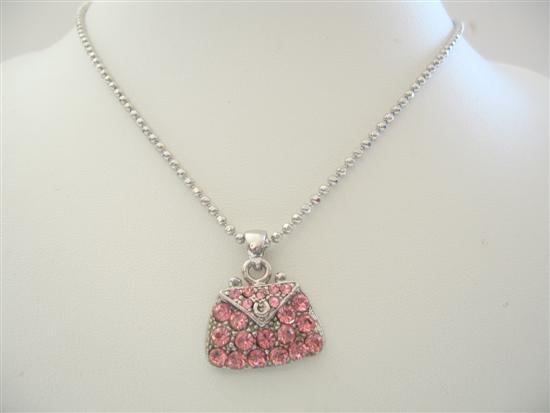 Pink Crystals Cute Purse Pendant Necklace