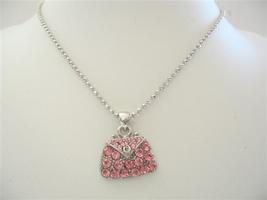 Pink Crystals Cute Purse Pendant Necklace - $14.68